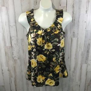 Ann Taylor LOFT Womens Top XS Brown Floral Silky
